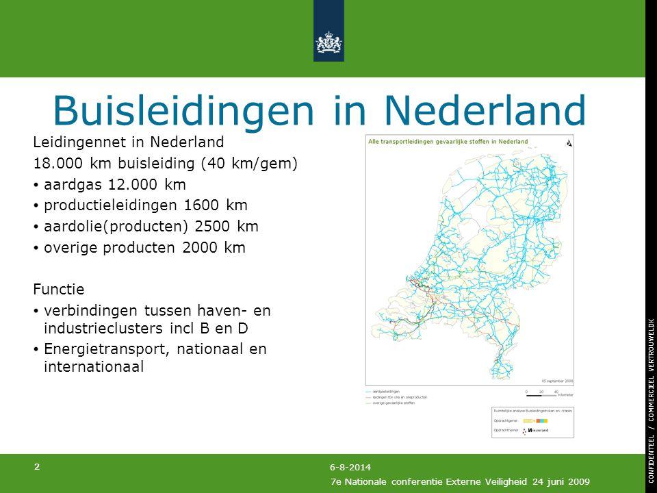 CONFIDENTEEL / COMMERCIEEL VERTROUWELIJK 2 7e Nationale conferentie Externe Veiligheid 24 juni 2009 2 6-8-2014 Buisleidingen in Nederland Leidingennet in Nederland 18.000 km buisleiding (40 km/gem) aardgas 12.000 km productieleidingen 1600 km aardolie(producten) 2500 km overige producten 2000 km Functie verbindingen tussen haven- en industrieclusters incl B en D Energietransport, nationaal en internationaal