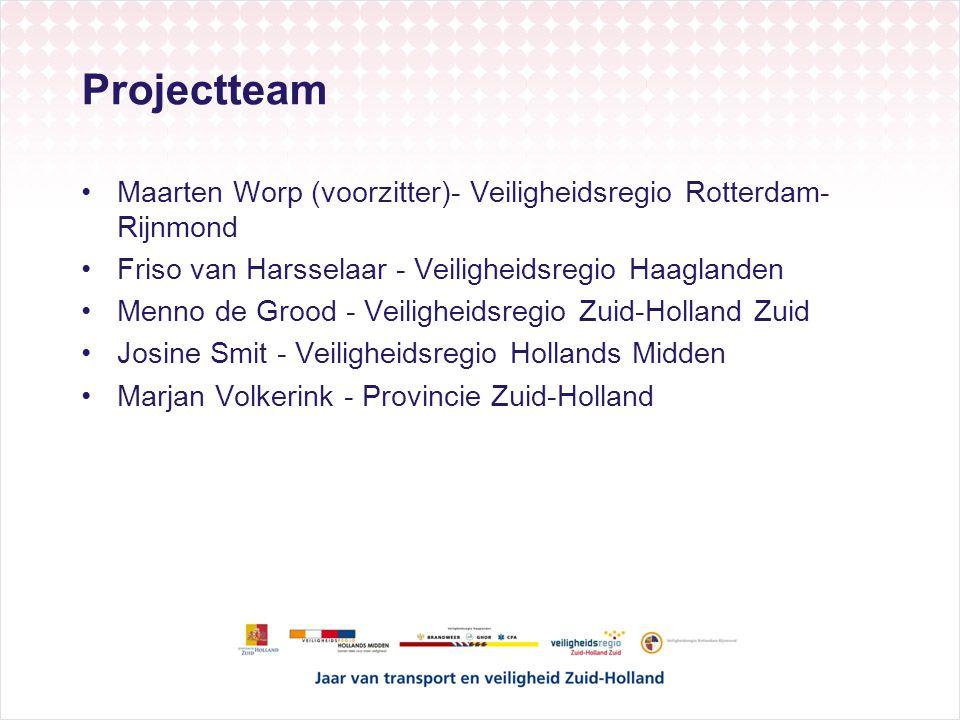 Projectteam Maarten Worp (voorzitter)- Veiligheidsregio Rotterdam- Rijnmond Friso van Harsselaar - Veiligheidsregio Haaglanden Menno de Grood - Veilig