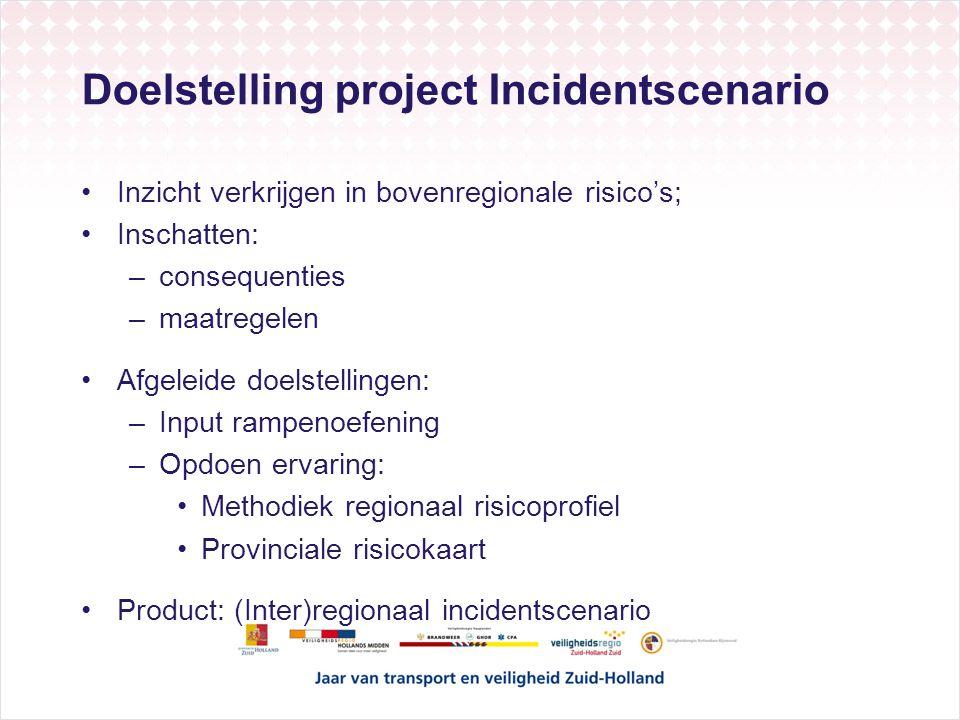 Doelstelling project Incidentscenario Inzicht verkrijgen in bovenregionale risico's; Inschatten: –consequenties –maatregelen Afgeleide doelstellingen: