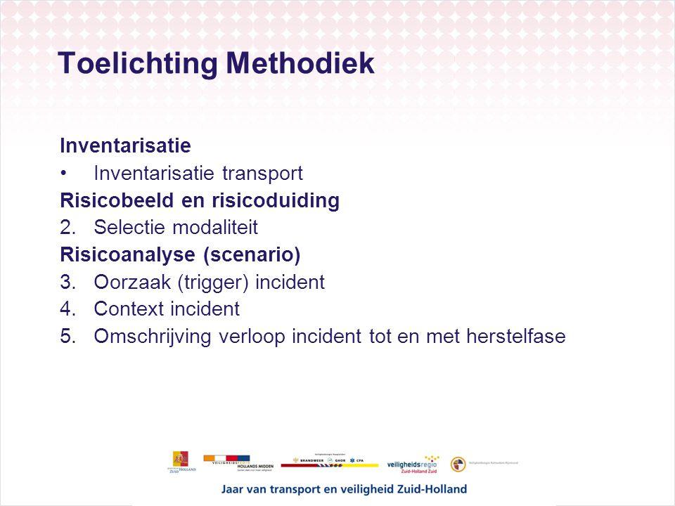 Toelichting Methodiek Inventarisatie Inventarisatie transport Risicobeeld en risicoduiding 2.Selectie modaliteit Risicoanalyse (scenario) 3.Oorzaak (t