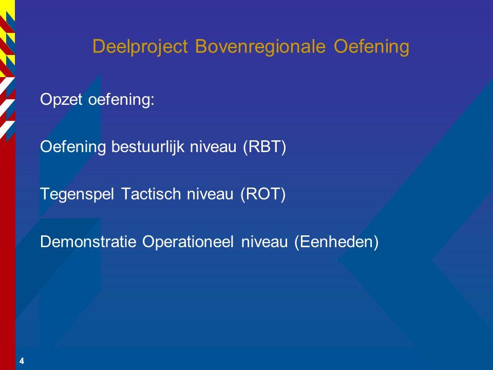 4 Deelproject Bovenregionale Oefening Opzet oefening: Oefening bestuurlijk niveau (RBT) Tegenspel Tactisch niveau (ROT) Demonstratie Operationeel niveau (Eenheden)