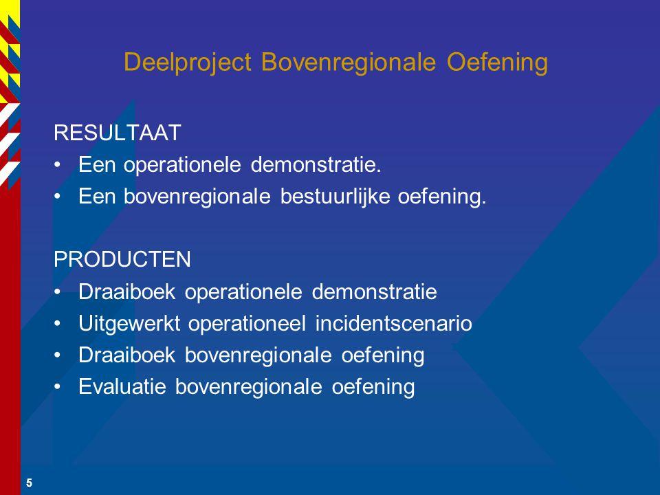 5 Deelproject Bovenregionale Oefening RESULTAAT Een operationele demonstratie.