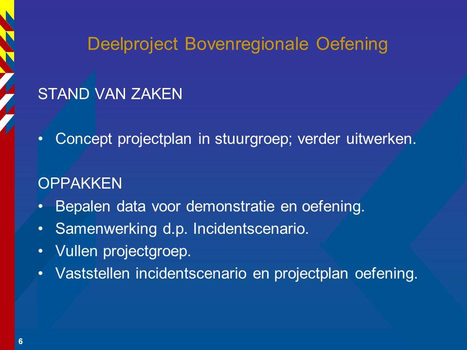 6 Deelproject Bovenregionale Oefening STAND VAN ZAKEN Concept projectplan in stuurgroep; verder uitwerken.