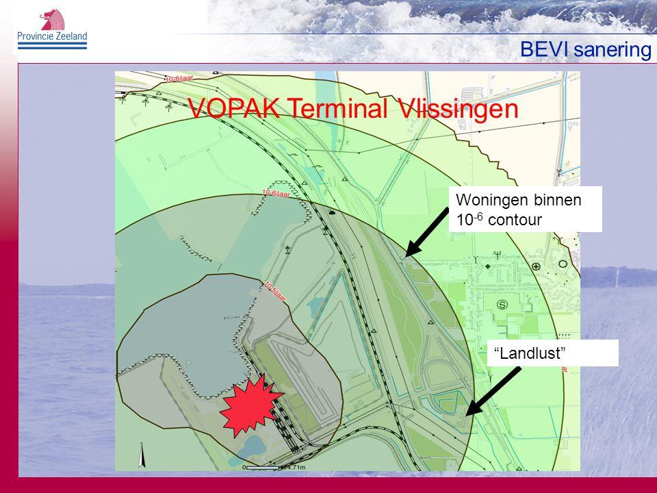 BEVI sanering Woningen binnen 10 -6 contour Landlust VOPAK Terminal Vlissingen