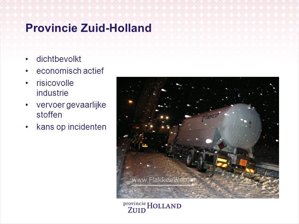 Provincie Zuid-Holland dichtbevolkt economisch actief risicovolle industrie vervoer gevaarlijke stoffen kans op incidenten