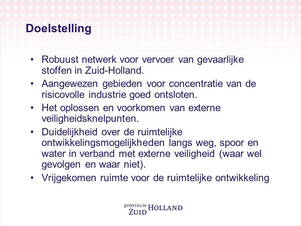 Doelstelling Robuust netwerk voor vervoer van gevaarlijke stoffen in Zuid-Holland.