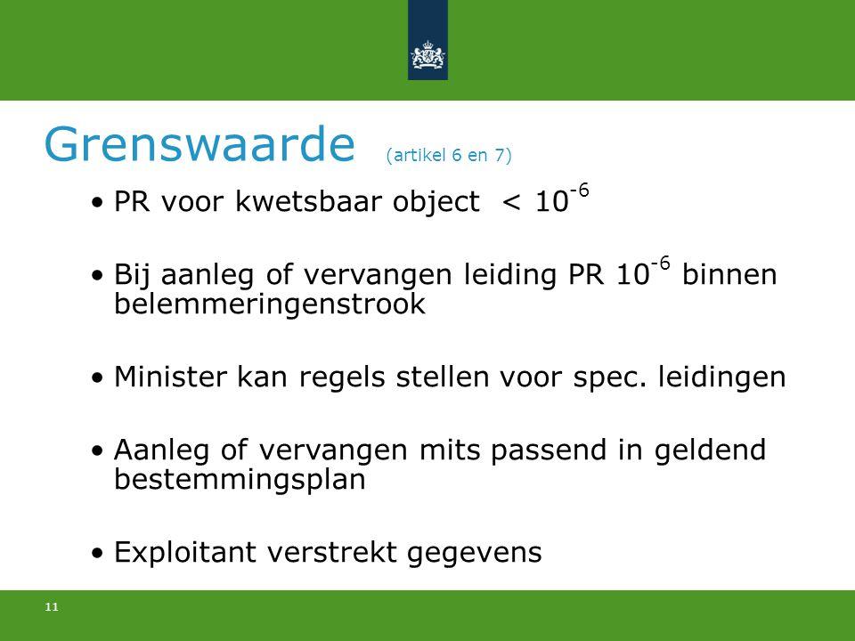 11 Grenswaarde (artikel 6 en 7) PR voor kwetsbaar object < 10 -6 Bij aanleg of vervangen leiding PR 10 -6 binnen belemmeringenstrook Minister kan rege