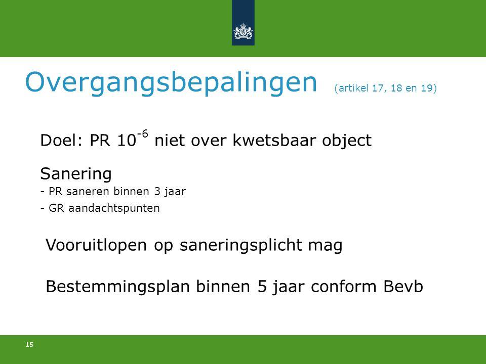 15 Overgangsbepalingen (artikel 17, 18 en 19) Doel: PR 10 -6 niet over kwetsbaar object Sanering - PR saneren binnen 3 jaar - GR aandachtspunten Vooru