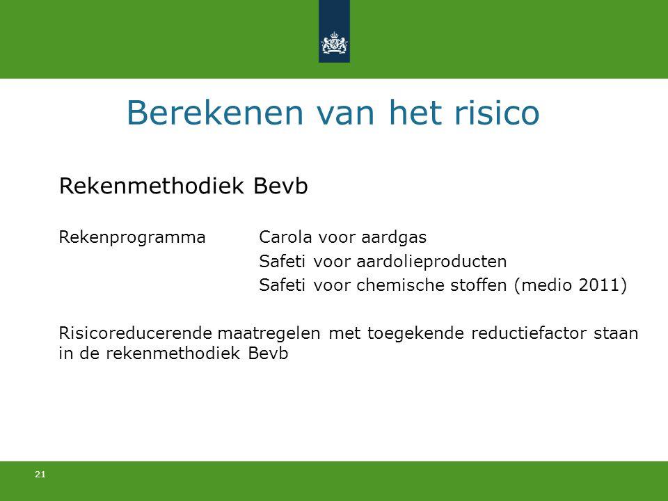 21 Berekenen van het risico Rekenmethodiek Bevb Rekenprogramma Carola voor aardgas Safeti voor aardolieproducten Safeti voor chemische stoffen (medio