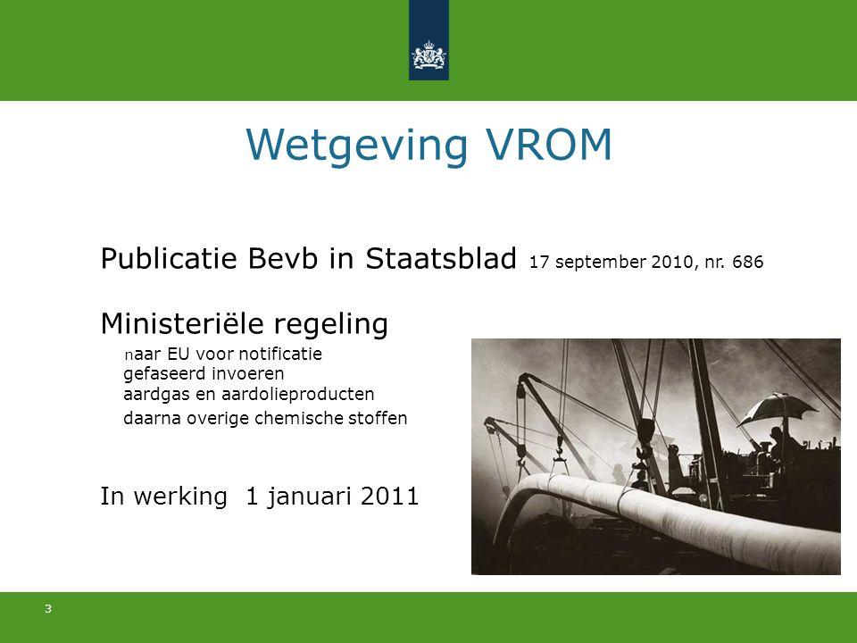 3 Wetgeving VROM Publicatie Bevb in Staatsblad 17 september 2010, nr. 686 Ministeriële regeling n aar EU voor notificatie gefaseerd invoeren aardgas e