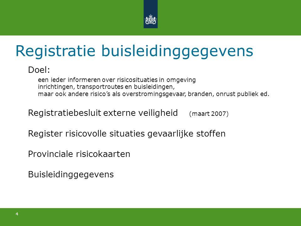 4 Registratie buisleidinggegevens Doel: een ieder informeren over risicosituaties in omgeving inrichtingen, transportroutes en buisleidingen, maar ook
