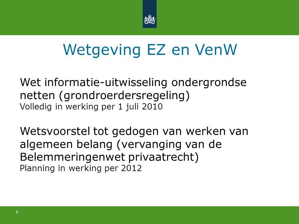 5 Wetgeving EZ en VenW Wet informatie-uitwisseling ondergrondse netten (grondroerdersregeling) Volledig in werking per 1 juli 2010 Wetsvoorstel tot ge