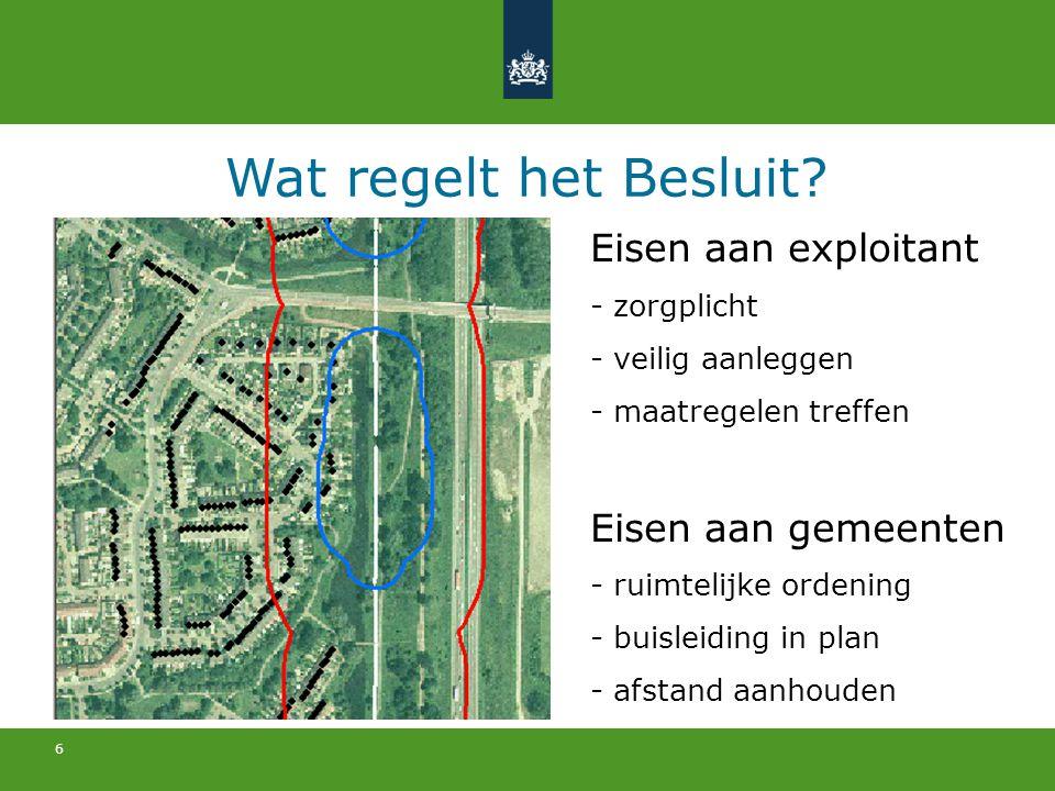 6 Wat regelt het Besluit? Eisen aan exploitant - zorgplicht - veilig aanleggen - maatregelen treffen Eisen aan gemeenten - ruimtelijke ordening - buis