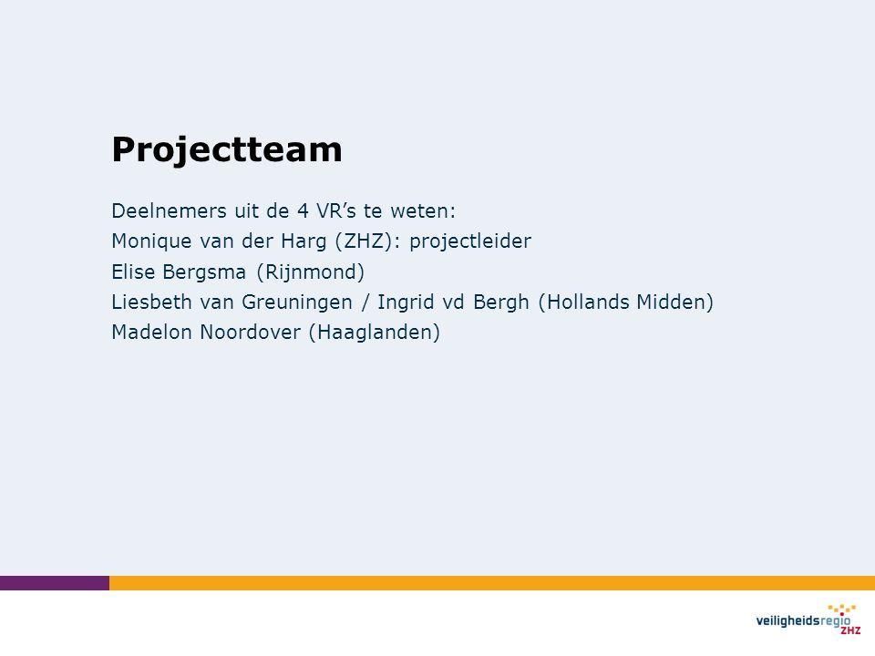 Projectteam Deelnemers uit de 4 VR's te weten: Monique van der Harg (ZHZ): projectleider Elise Bergsma (Rijnmond) Liesbeth van Greuningen / Ingrid vd Bergh (Hollands Midden) Madelon Noordover (Haaglanden)