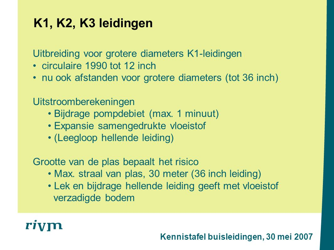K1, K2, K3 leidingen Uitbreiding voor grotere diameters K1-leidingen circulaire 1990 tot 12 inch nu ook afstanden voor grotere diameters (tot 36 inch) Uitstroomberekeningen Bijdrage pompdebiet (max.