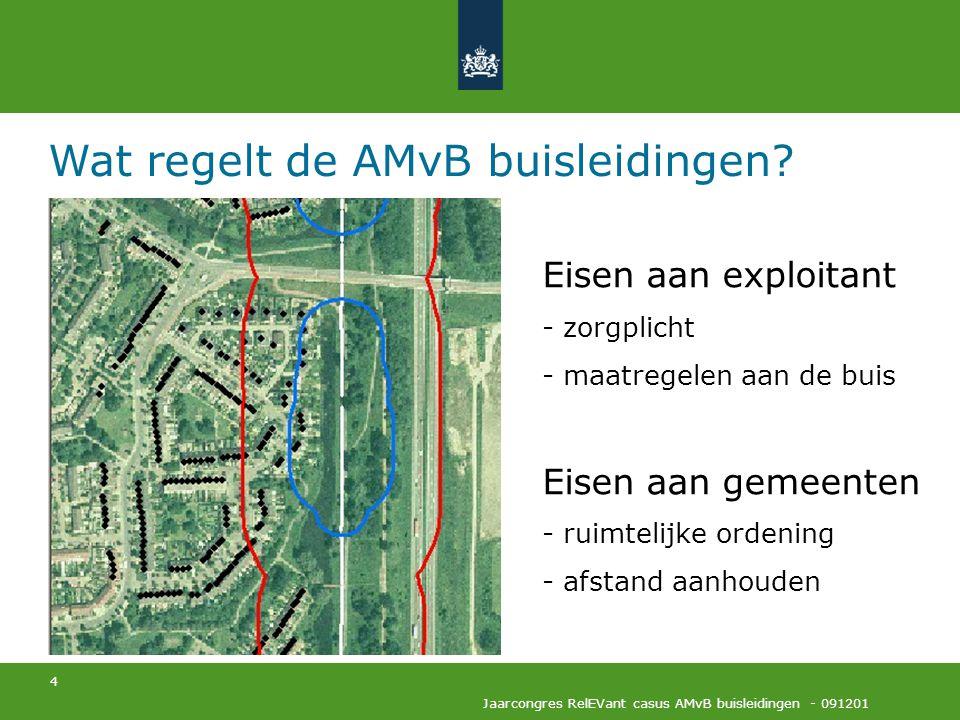 4 Jaarcongres RelEVant casus AMvB buisleidingen - 091201 Wat regelt de AMvB buisleidingen? Eisen aan exploitant - zorgplicht - maatregelen aan de buis