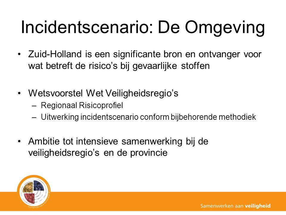 Incidentscenario: De Omgeving Zuid-Holland is een significante bron en ontvanger voor wat betreft de risico's bij gevaarlijke stoffen Wetsvoorstel Wet Veiligheidsregio's –Regionaal Risicoprofiel –Uitwerking incidentscenario conform bijbehorende methodiek Ambitie tot intensieve samenwerking bij de veiligheidsregio's en de provincie
