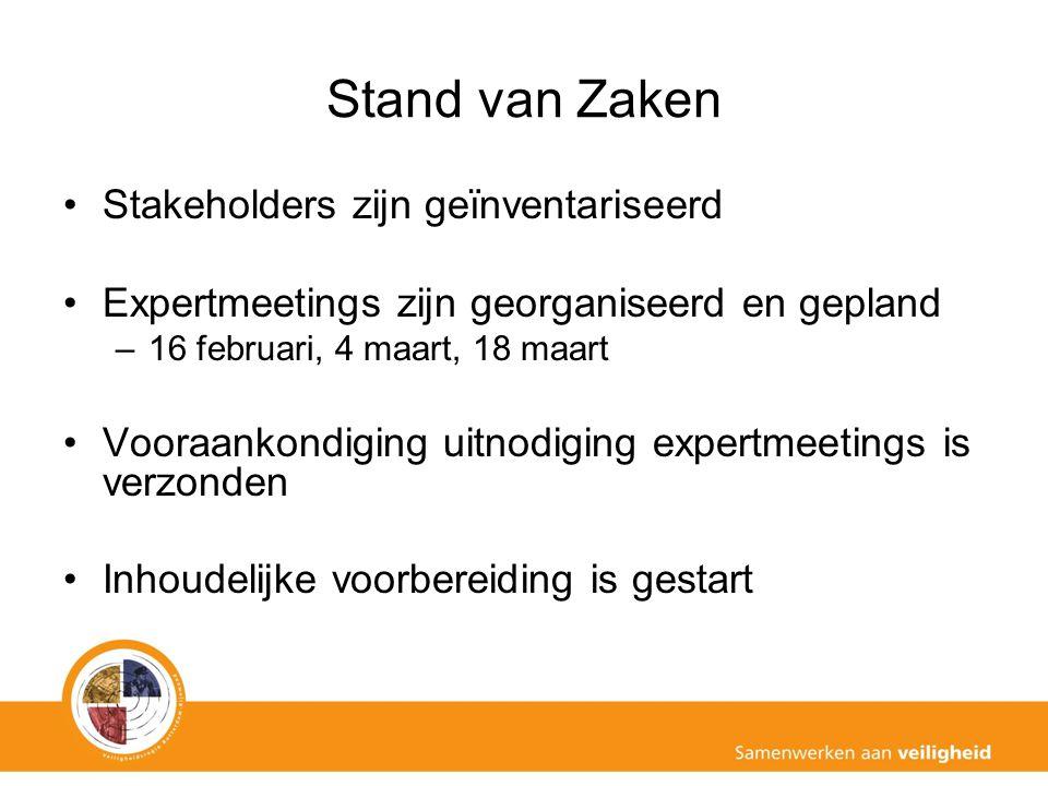 Stand van Zaken Stakeholders zijn geïnventariseerd Expertmeetings zijn georganiseerd en gepland –16 februari, 4 maart, 18 maart Vooraankondiging uitno