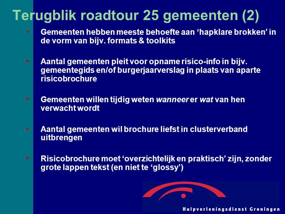 Terugblik roadtour 25 gemeenten (2) Gemeenten hebben meeste behoefte aan 'hapklare brokken' in de vorm van bijv. formats & toolkits Aantal gemeenten p