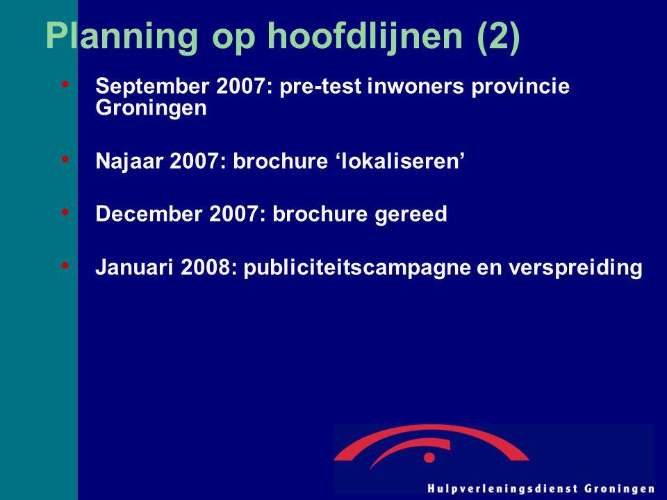 Planning op hoofdlijnen (2) September 2007: pre-test inwoners provincie Groningen Najaar 2007: brochure 'lokaliseren' December 2007: brochure gereed Januari 2008: publiciteitscampagne en verspreiding