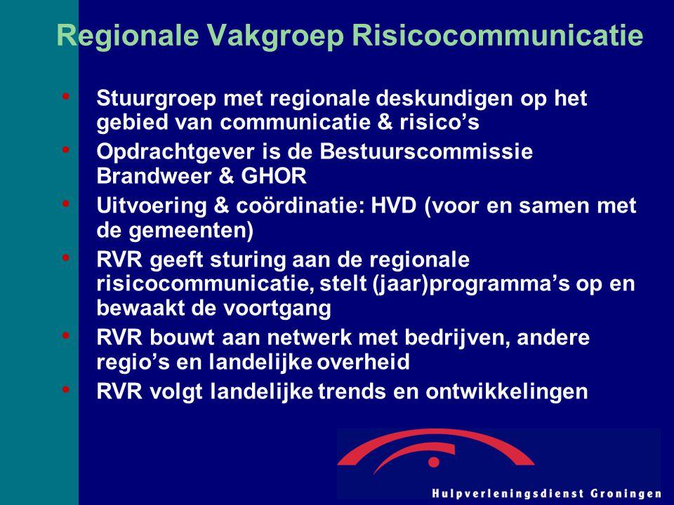 Regionale Vakgroep Risicocommunicatie Stuurgroep met regionale deskundigen op het gebied van communicatie & risico's Opdrachtgever is de Bestuurscommissie Brandweer & GHOR Uitvoering & coördinatie: HVD (voor en samen met de gemeenten) RVR geeft sturing aan de regionale risicocommunicatie, stelt (jaar)programma's op en bewaakt de voortgang RVR bouwt aan netwerk met bedrijven, andere regio's en landelijke overheid RVR volgt landelijke trends en ontwikkelingen