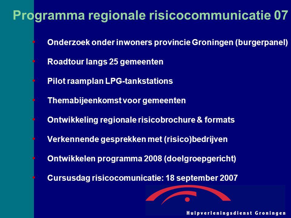 Programma regionale risicocommunicatie 07 Onderzoek onder inwoners provincie Groningen (burgerpanel) Roadtour langs 25 gemeenten Pilot raamplan LPG-ta