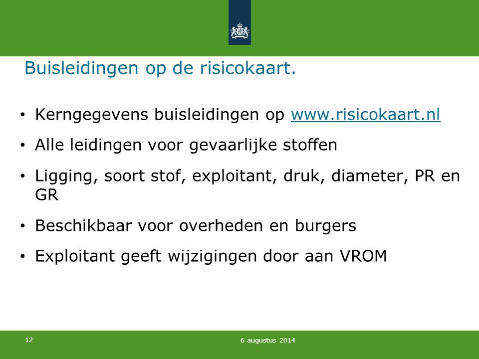 12 Buisleidingen op de risicokaart. Kerngegevens buisleidingen op www.risicokaart.nlwww.risicokaart.nl Alle leidingen voor gevaarlijke stoffen Ligging