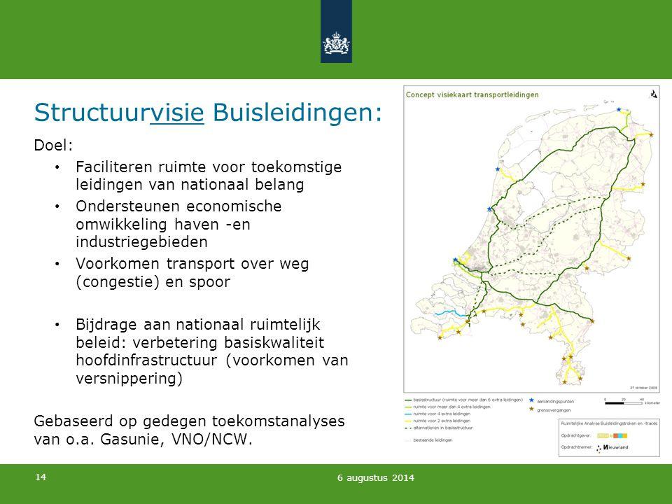 14 Structuurvisie Buisleidingen: Doel: Faciliteren ruimte voor toekomstige leidingen van nationaal belang Ondersteunen economische omwikkeling haven -