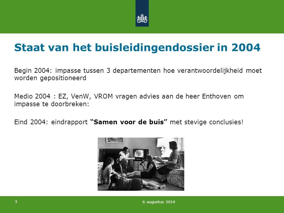 3 Staat van het buisleidingendossier in 2004 Begin 2004: impasse tussen 3 departementen hoe verantwoordelijkheid moet worden gepositioneerd Medio 2004