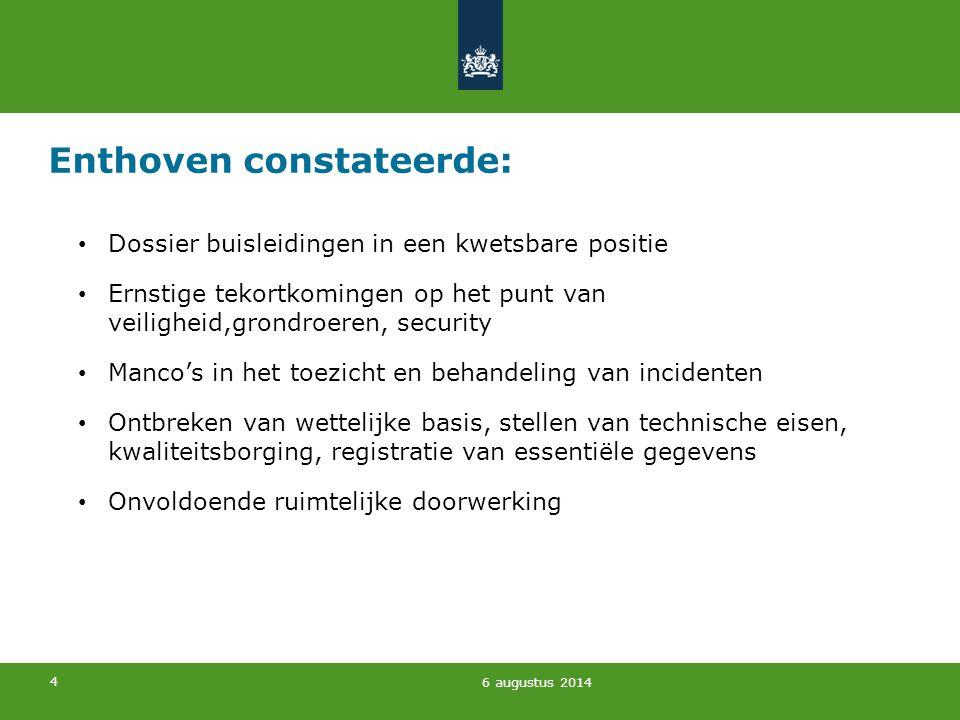 5 Enthoven constateerde bovendien: Dossier verlamd door onenigheid over primaire verantwoordelijkheid Onduidelijkheid over veiligheidsafstanden, maatregelen en bekostiging daarvan.