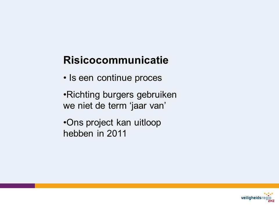 Risicocommunicatie Is een continue proces Richting burgers gebruiken we niet de term 'jaar van' Ons project kan uitloop hebben in 2011