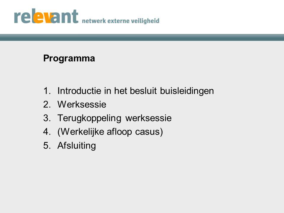 Programma 1.Introductie in het besluit buisleidingen 2.Werksessie 3.Terugkoppeling werksessie 4.(Werkelijke afloop casus) 5.Afsluiting