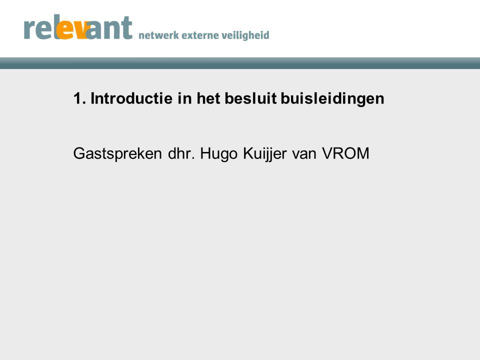 1. Introductie in het besluit buisleidingen Gastspreken dhr. Hugo Kuijjer van VROM
