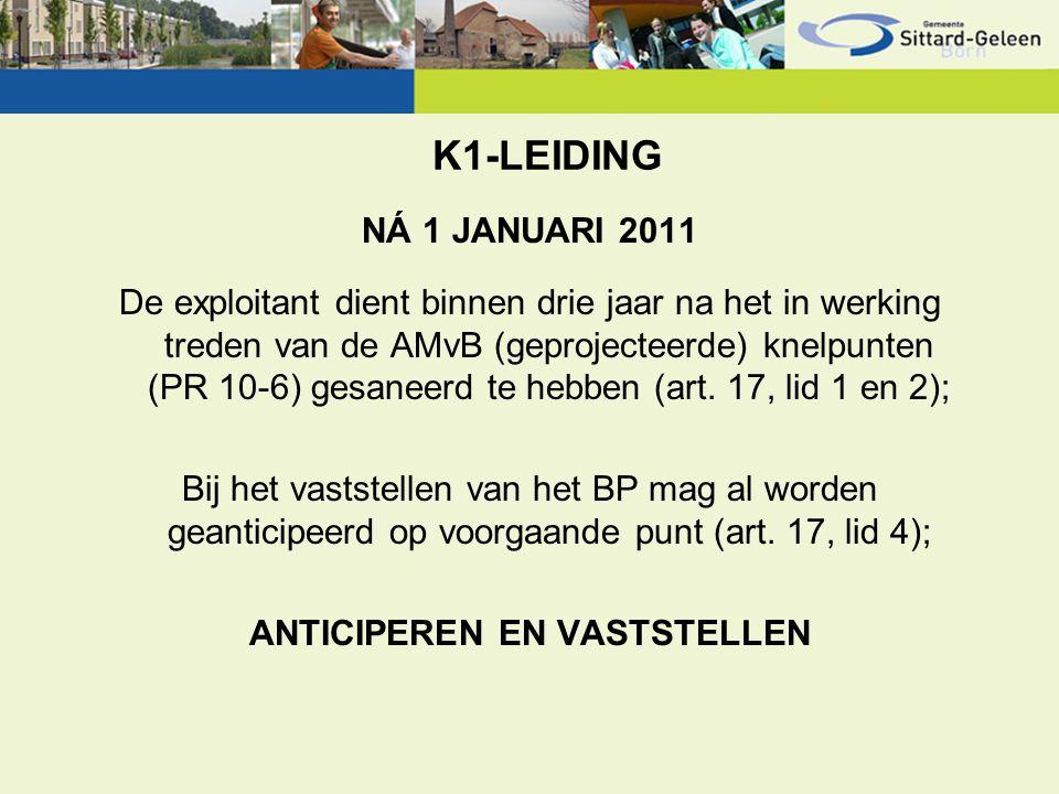 K1-LEIDING NÁ 1 JANUARI 2011 De exploitant dient binnen drie jaar na het in werking treden van de AMvB (geprojecteerde) knelpunten (PR 10-6) gesaneerd