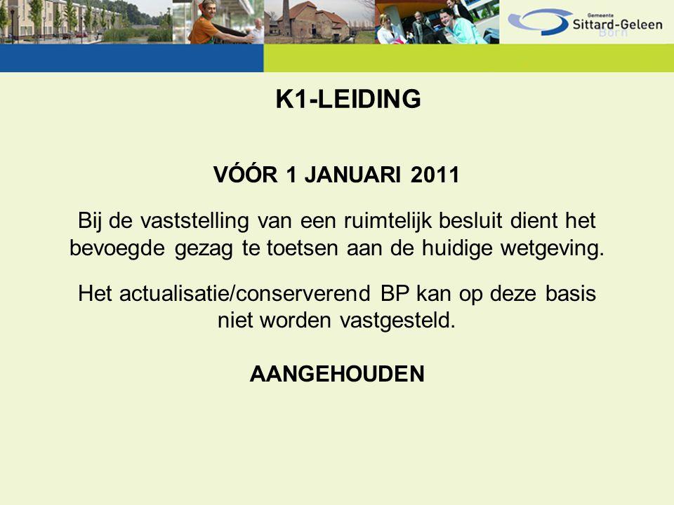 K1-LEIDING VÓÓR 1 JANUARI 2011 Bij de vaststelling van een ruimtelijk besluit dient het bevoegde gezag te toetsen aan de huidige wetgeving. Het actual