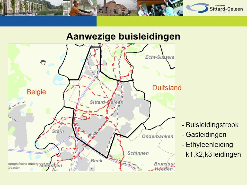 Aanwezige buisleidingen België Duitsland - Buisleidingstrook - Gasleidingen - Ethyleenleiding - k1,k2,k3 leidingen