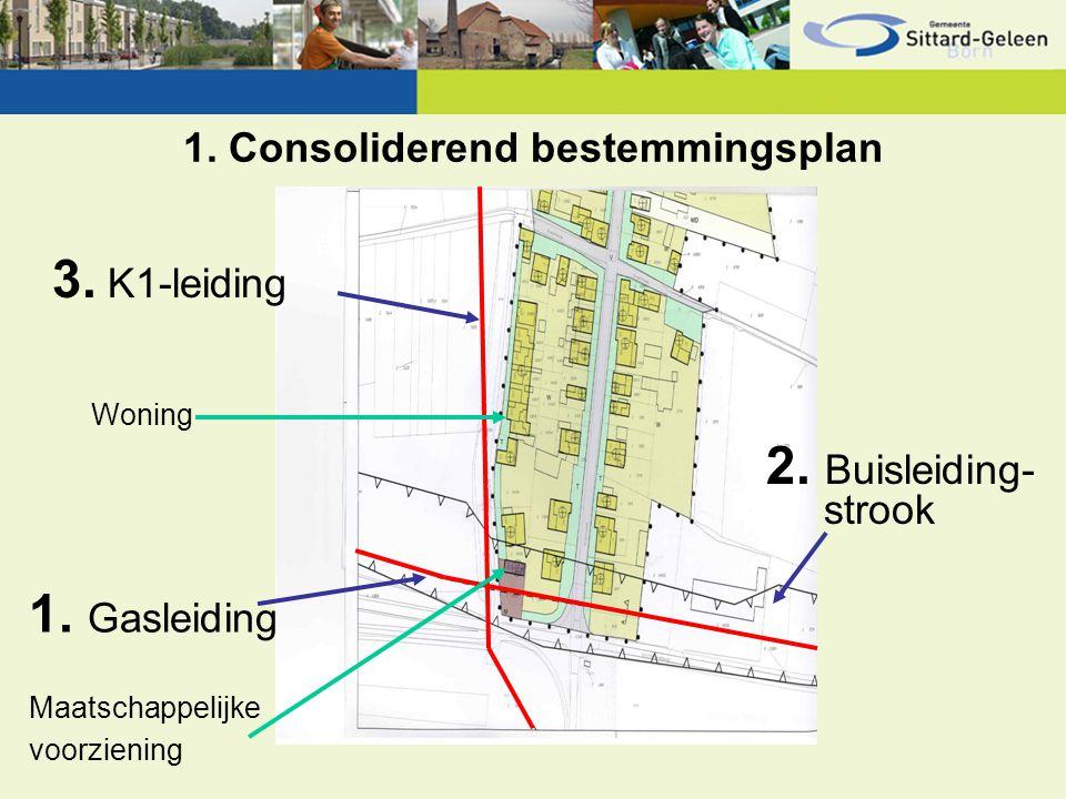 1. Consoliderend bestemmingsplan 1. Gasleiding 3. K1-leiding 2. Buisleiding- strook Woning Maatschappelijke voorziening