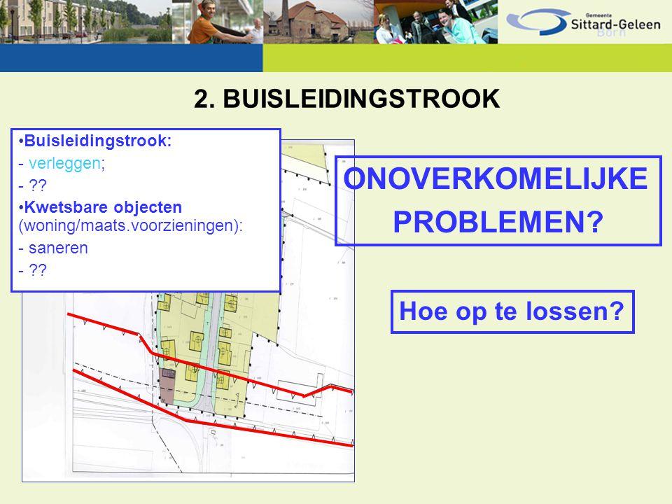2. BUISLEIDINGSTROOK ONOVERKOMELIJKE PROBLEMEN? Hoe op te lossen? Buisleidingstrook: - verleggen; - ?? Kwetsbare objecten (woning/maats.voorzieningen)