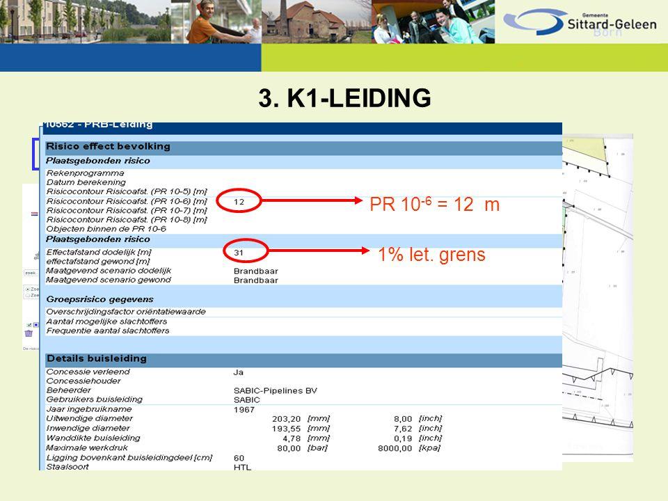 3. K1-LEIDING Categorie K1 (brandbare vloeistof) PR 10 -6 = 12 m 1% let. grens