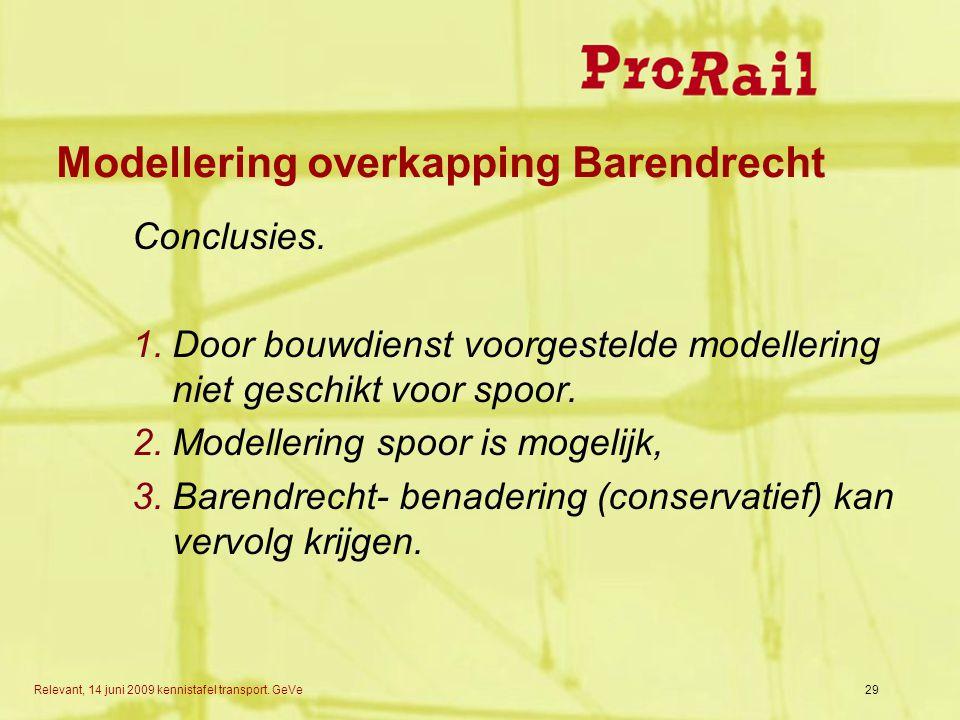 Relevant, 14 juni 2009 kennistafel transport.GeVe Modellering overkapping Barendrecht Conclusies.