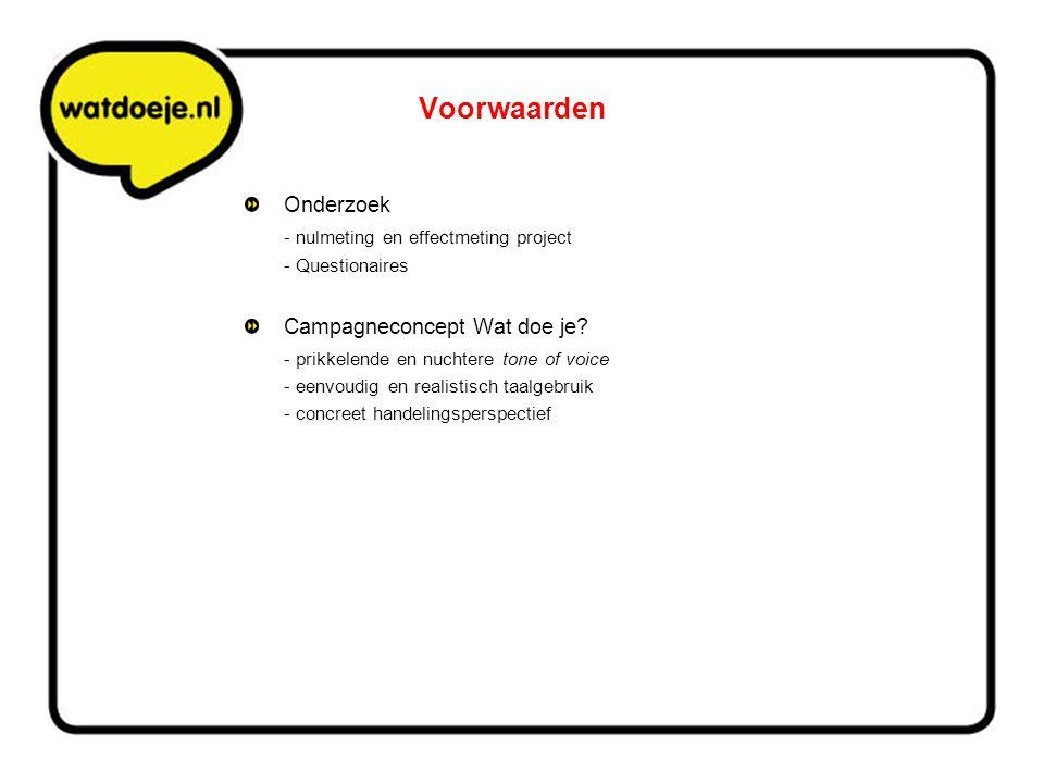 Voorwaarden Onderzoek - nulmeting en effectmeting project - Questionaires Campagneconcept Wat doe je? - prikkelende en nuchtere tone of voice - eenvou