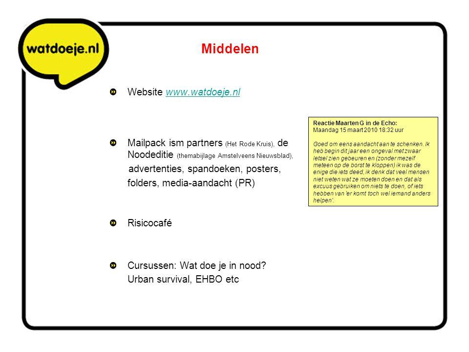 Middelen Website www.watdoeje.nlwww.watdoeje.nl Mailpack ism partners (Het Rode Kruis), de Noodeditie (themabijlage Amstelveens Nieuwsblad), advertent