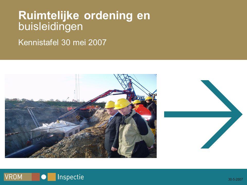 30-5-2007 Ruimtelijke ordening en buisleidingen Kennistafel 30 mei 2007