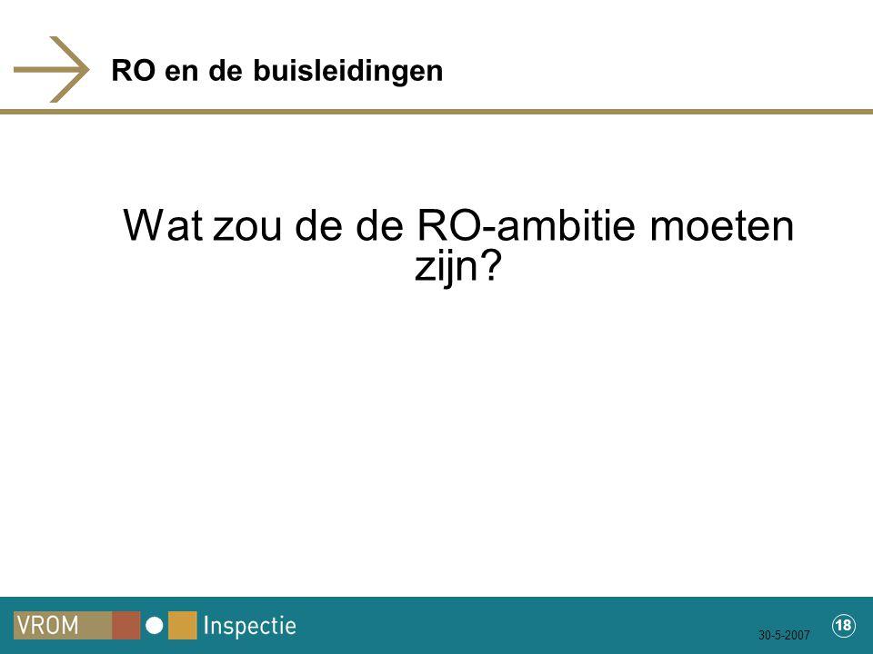 30-5-2007 18 RO en de buisleidingen Wat zou de de RO-ambitie moeten zijn?