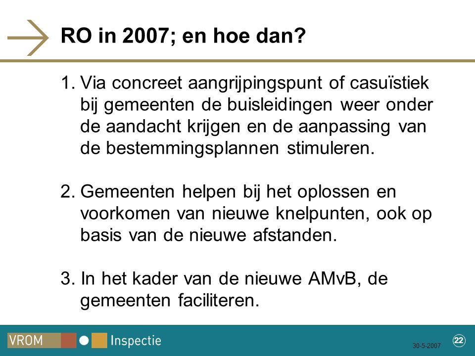 30-5-2007 22 RO in 2007; en hoe dan.