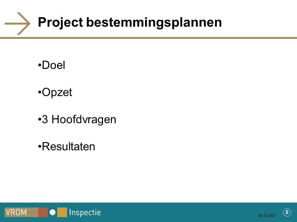 30-5-2007 5 Project bestemmingsplannen Doel Opzet 3 Hoofdvragen Resultaten