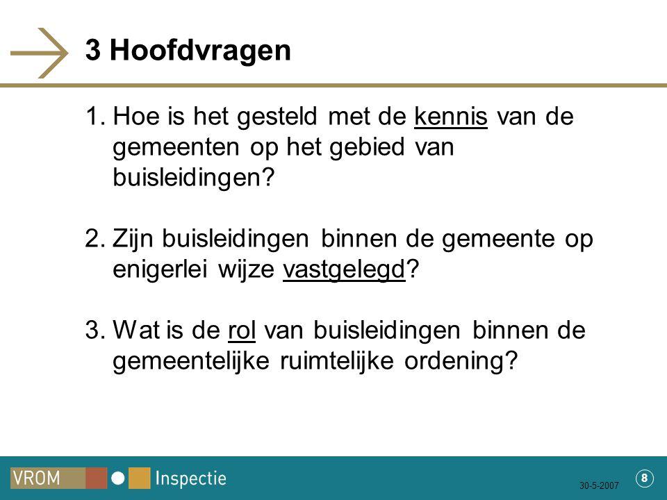 30-5-2007 8 3 Hoofdvragen 1.Hoe is het gesteld met de kennis van de gemeenten op het gebied van buisleidingen.
