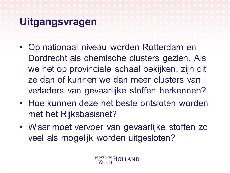 Uitgangsvragen Op nationaal niveau worden Rotterdam en Dordrecht als chemische clusters gezien. Als we het op provinciale schaal bekijken, zijn dit ze