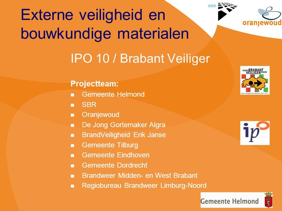 Externe veiligheid en bouwkundige materialen IPO 10 / Brabant Veiliger Projectteam: Gemeente Helmond SBR Oranjewoud De Jong Gortemaker Algra BrandVeil