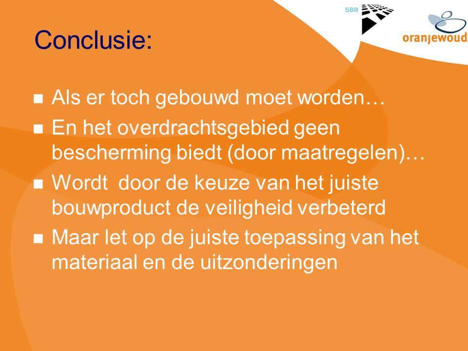 Conclusie: Als er toch gebouwd moet worden… En het overdrachtsgebied geen bescherming biedt (door maatregelen)… Wordt door de keuze van het juiste bou